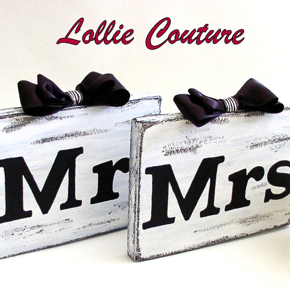 Wedding decorations, wedding table signs, Bride and Groom wedding table signs, MR & MRS